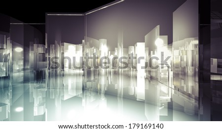 Office, 3d business room, Hall  building with light and reflects. modern design concept - stock photo