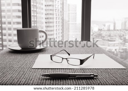 Office desk. - stock photo