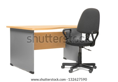 Office desk and chair. Isoalted on white. - stock photo