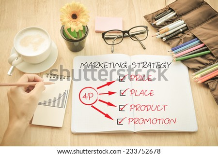 Office Desk and  marketing strategy - stock photo