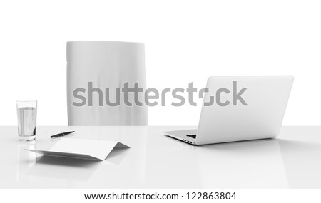 Office desk isolated on a white background - stock photo