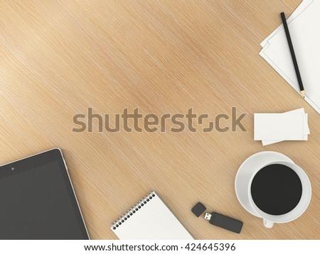 office desk mock template stationery tablet stock illustration