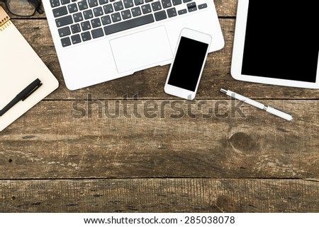 Office desk table. Top view. - stock photo