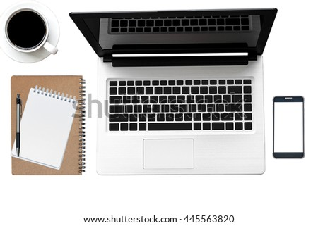 Office desk white table of Business workplace, notebook Laptop and mobile coffee cup, Top view with copy space.