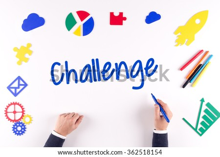 Office desk with a single word Challenge - stock photo
