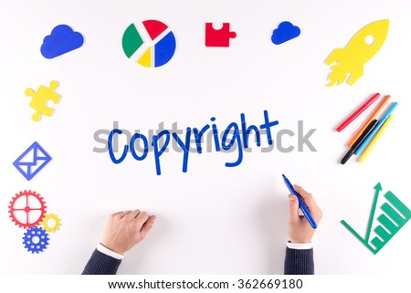 Office desk with a single word Copyright - stock photo