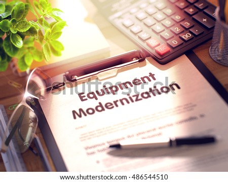 Office Desk with Stationery, Calculator, Glasses, Green Flower and Clipboard with Paper and Business Concept - Equipment Modernization. 3d Rendering. Toned Image.