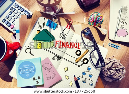 Office Desk with Tools and Notes About Finance - stock photo