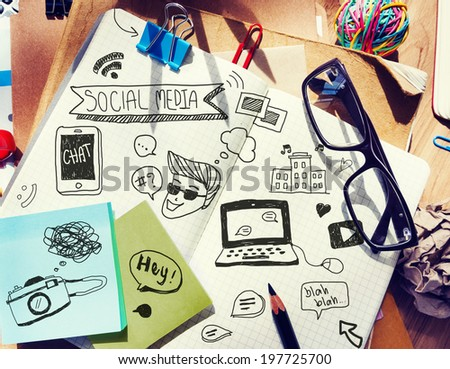 Office Desk with Tools and Notes About Social Media - stock photo