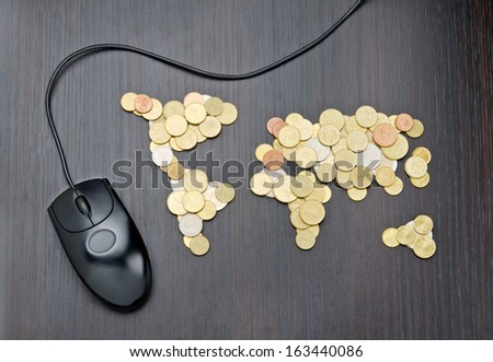 Office desk world map made money stock photo royalty free office desk with world map made of money coins and computer mouse gumiabroncs Images