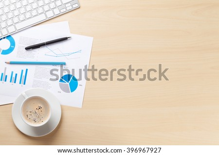 office table top accessories online protector stock photo desk workplace charts coffee wooden view copy space glass india