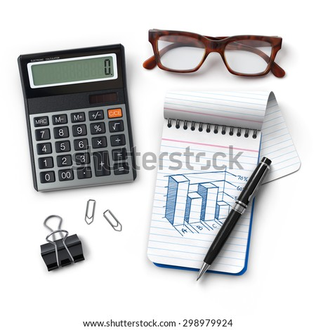 Office desktop.Calculator.Notepad with statistics sketch.Pen.Glasses.Clip.Realistic 3D rendering.Isolated on white background.Top view.  - stock photo