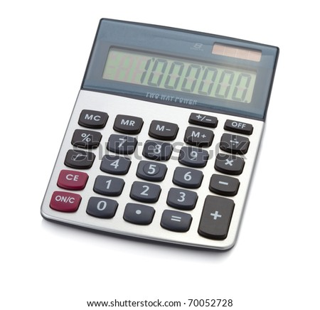 Office digital calculator. Isolated on white background - stock photo