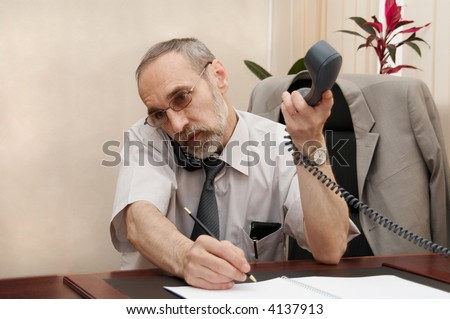 Office. Director. Phone call. Hard working day. - stock photo