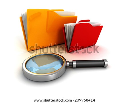 office document paper folders and magnifying glass. 3d render illustration - stock photo
