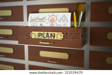 Office drawer with theme on business planning - stock photo