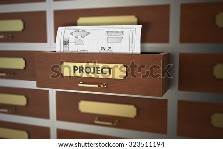 Office drawers with text on the subject of Project and Planning - stock photo