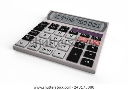 Office electronic white calculator isolated on white background - stock photo