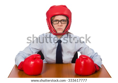 Office employee at job wearing box gloves isolated on white