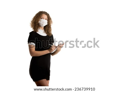 Office employee wearing mask caught cold - stock photo