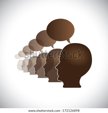 office employees meeting & sharing opinions - concept illustration. This abstract graphic also represent executive team meeting, employees discussions, networking, community interaction, internet chat - stock photo