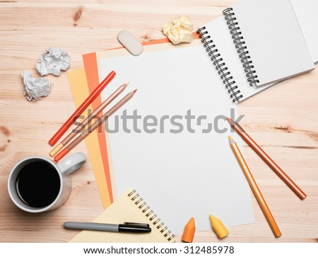 office equipment with coffee - stock photo