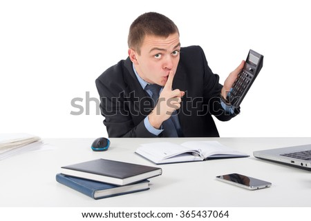 Office, finances, internet, business, success and people concept-Businessman holding his finger in front of his mouth and making silence gesture shh isolated on white - stock photo