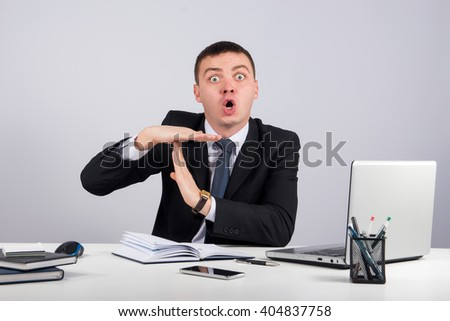 Office, finances, internet, business, success and people concept-businessman showing timeout gesture  - stock photo