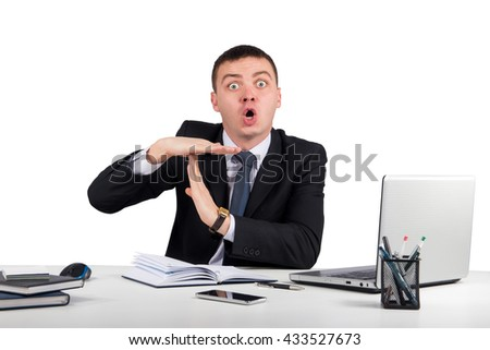 Office, finances, internet, business, success and people concept-businessman showing timeout gesture
