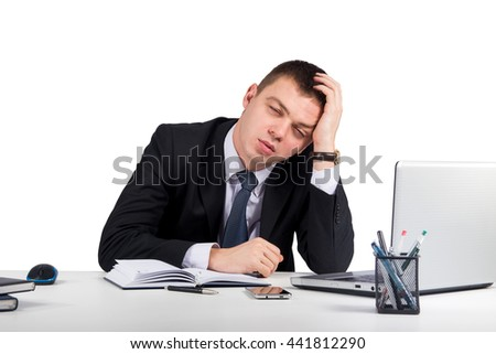 Office, finances, internet, business, success and stress concept-Frustrated young businessman working on laptop computer at office isolated  on white background