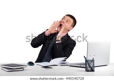 Office, finances, internet, business, success concept-Young man in office shouting with hands cupped to his mouth isolated on white background