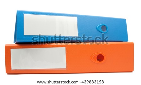 office folder file composition isolated on white background - stock photo