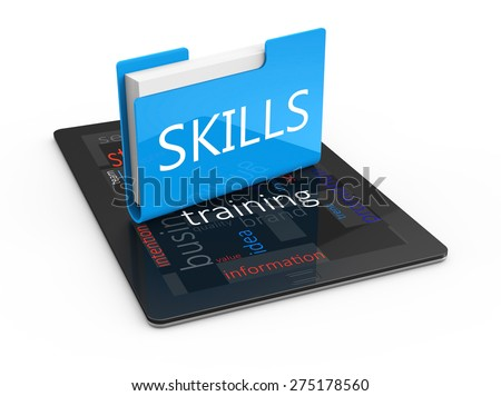 Office folder with text skills on the tablet as a concept - stock photo