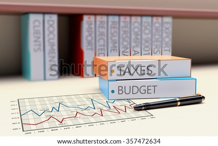 Office folder with the theme of Taxation and Finance - stock photo