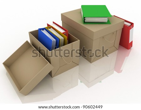 office folders and cardboard box on white background