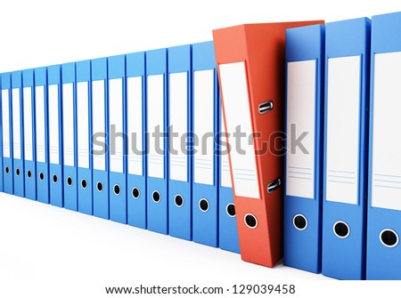 office folders, binder 3d Illustrations on a white background - stock photo