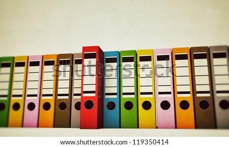 office folders isolated on white background - stock photo
