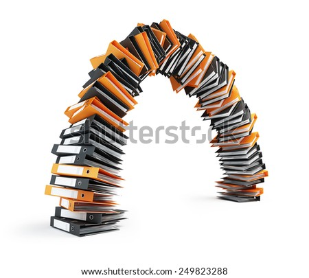 office folders lined arch on a white background - stock photo