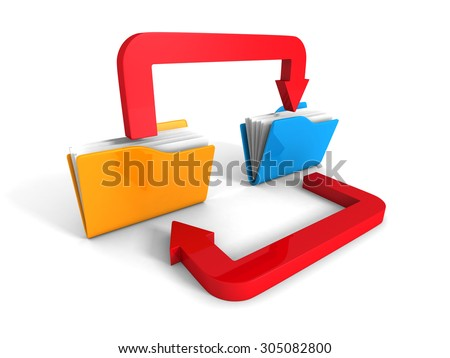 Office Folders Transfer Data Arrow On White Background. 3d Render Illustration - stock photo