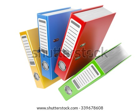 Office folders with documents isolated on white background - stock photo