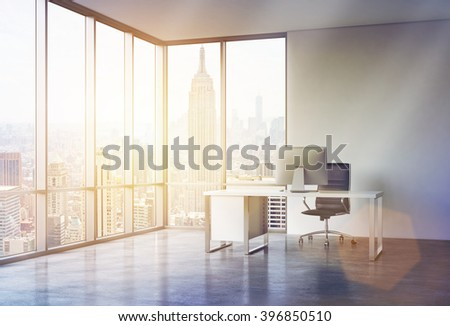 Office for one with panoramic window and big. New York view. Toned, filter. Concept of work. 3D rendering