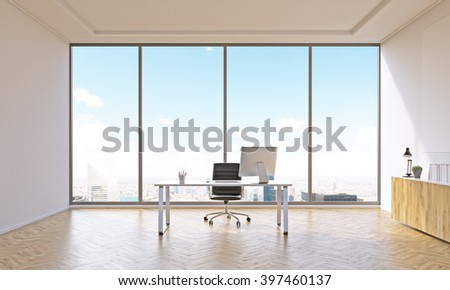 Office for one with table and closed shelf. Panoramic window. City view. Concept of work. 3D rendering