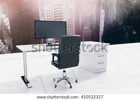 Office furniture against aerial view of a city on a cloudy day