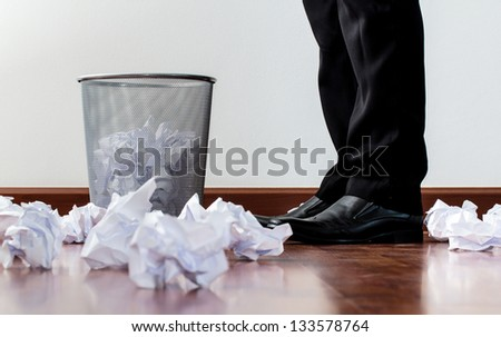office garbage with metal basket - stock photo