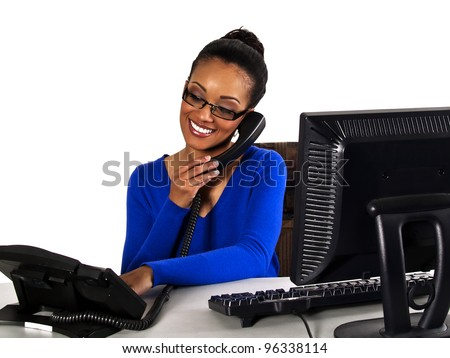 office girl helping a customer over the phone - stock photo