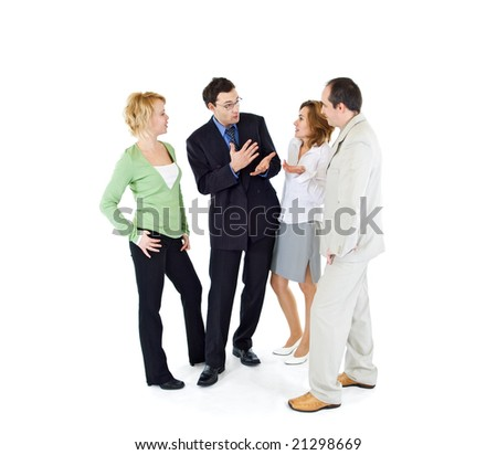 Office gossip people group of four - isolated - stock photo