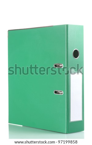 Office green folder isolated on white - stock photo