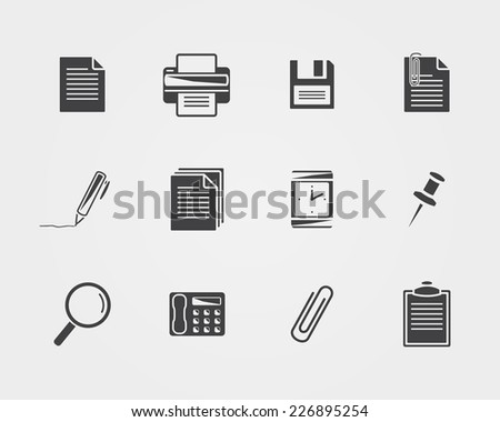 Office icons.Black icons   isolated on a white background - stock photo