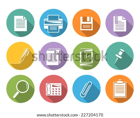 Office icons.Flat icons with shadow. - stock photo