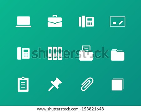 Office icons on green background. See also vector version. - stock photo